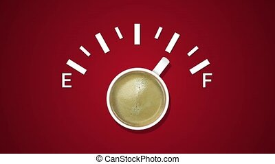Animation of fuel indicator, showing fuel level with cup coffee at red background. Coffee creative idea background. Loading status bar. Modern Web icon. Graphic animation style with doodle cup coffee