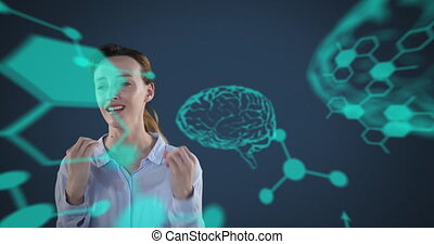 Animation of furious Caucasian woman with light blue brain ...
