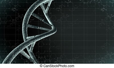 Animation of genetic DNA with science background. Loop-able 4K