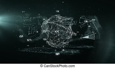 Animation of geometric form with numbers floating on black ...
