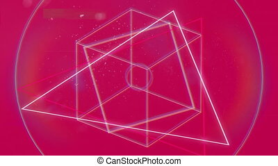 Animation of geometric shapes in red background