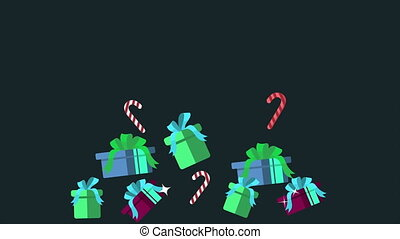 Animation of gift christmas and candy canes. Christmas...