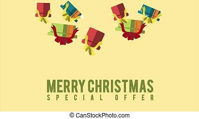 Animation of gift christmas Merry Christmas