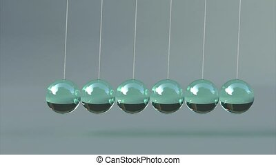 Animation of glas newton's cradle 3d animation