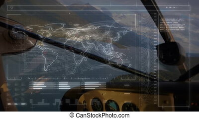Animation of global network of connections and data processing with world map, view seen from aeroplane cockpit in the background. Global connections travel concept digital composite.