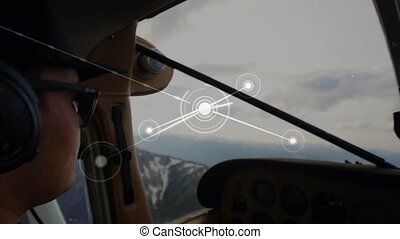 Animation of global network of connections and data processing, aerial view seen from aeroplane cockpit and side view of pilot in the background. Global connections travel concept digital composite.