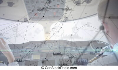 Animation of global network of connections spinning seen from aeroplane cockpit with two pilots. Global network of air traffic control navigation system concept digital composite.