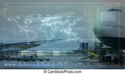 Animation of global network of connections and data processing with world map air traffic control system, aeroplane taking off in the airport in the background. Global connections travel concept digital composite.