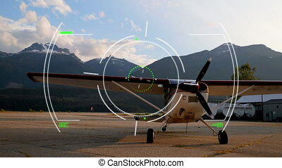 Animation of global network of connections and data processing scope scanning air traffic control system, with aeroplane in the airport in the background. Global connections travel concept digital composite.