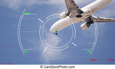 Animation of global network of connections and data processing globe spinning air traffic control system, with aeroplane flying against blue sky in the background. Global connections travel concept digital composite.