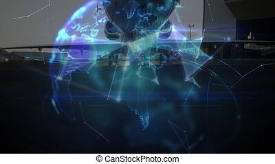 Animation of global network of connections and data processing globe spinning air traffic control system, with aeroplane in the airport in the background. Global connections travel concept digital composite.