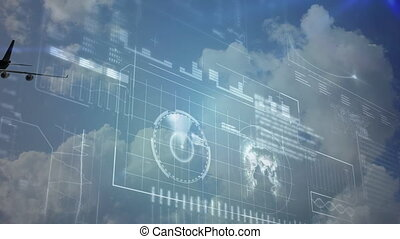 Animation of global network of connections and data processing with aeroplane flying against clouds and blue sky in the background. Global connections travel concept digital composite.
