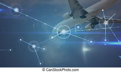Animation of global network of connections with aeroplane in background
