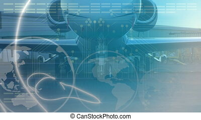 Animation of global network of connections and data processing, globe spinning with aeroplane in the airport in the background. Global connections travel concept digital composite.