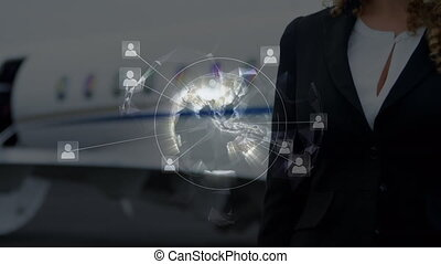 Animation of global network of connections with woman in background