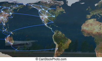 Animation of global network of connections with world map in background