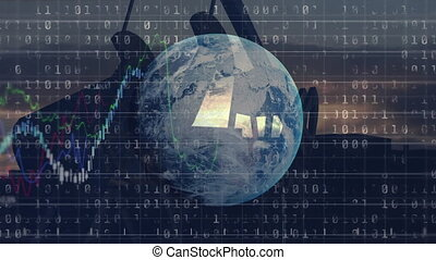 Animation of globe, binary coding and oil pumpjack over stock market display with numbers and graphs, price going up and down at the stock exchange over data recording in the background. Finance business stock market global data processing concept digitally generated image.