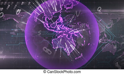 Animation of globe and letters over world map on black background