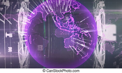 Animation of globe and numbers over world map on black background