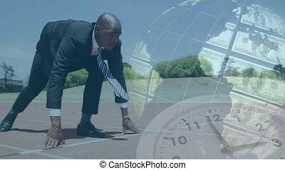 Animation of globe made of American dollar bills spinning ...