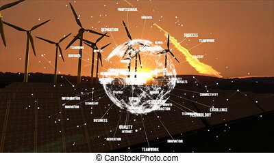 Animation of globe of connections with words spinning over wind turbines