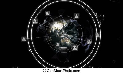 Animation of globe of network of connections with icons on black background