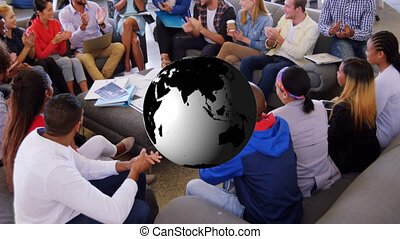 Animation of globe over business meeting