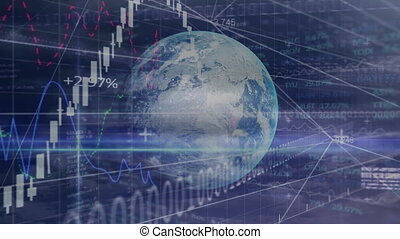 Animation of globe over stock market display in the background.
