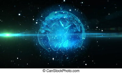 Animation of globe spinning in universe on dark background