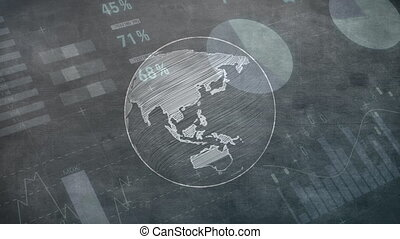 Animation of globe spinning over stock market display in the background.