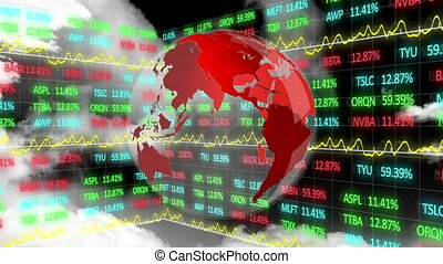 Animation of globe spinning over stock market display with numbers and graphs over data recording in