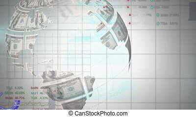 Animation of globe spinning with data on white background