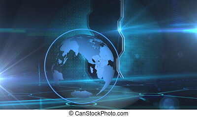 Animation of globe spinning with glowing lights on blue background