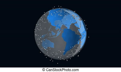 Animation of globe spinning with network of connections on black background