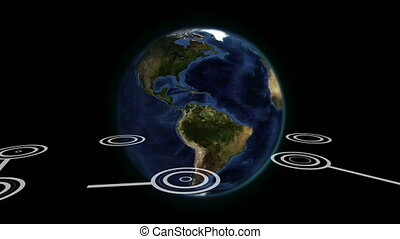 Animation of globe spinning with network of global connections on black background