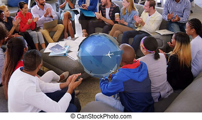 Animation of globe with airplanes over business meeting