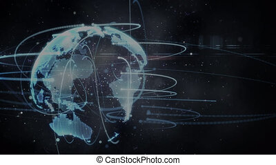 Animation of globe with network of connections on black background