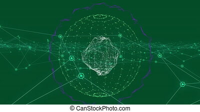 Animation of globe with network of connections on green background