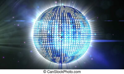 Animation of glowing and sparkling mirror disco ball spinning, green spotlight moving around