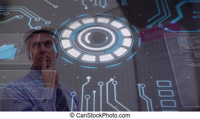 Animation of glowing circular scanner rotating with circuitboard, over man in hard hat. global communication network, lifestyle and digital interface concept digitally generated video.
