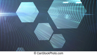 Animation of glowing lines connecting with hexagon shapes. global online network technology connection communication concept digitally generated image.