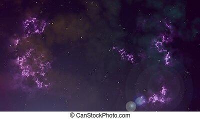 Animation of glowing nebula and stars