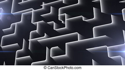 Animation of glowing network of white labyrinth lines. global online network technology connection communication concept digitally generated image.