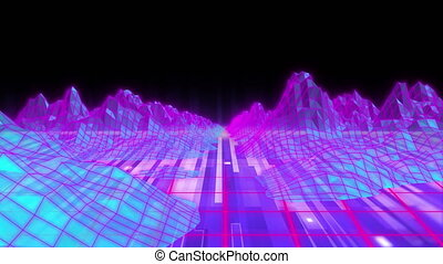 Animation of glowing pink topographic map of mountains and ...