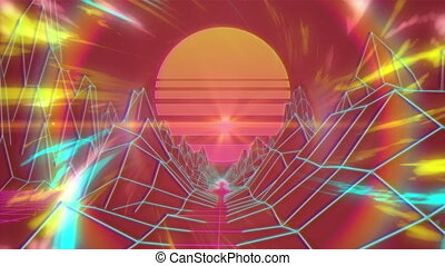 Animation of glowing pulsating rays of colors moving in ...