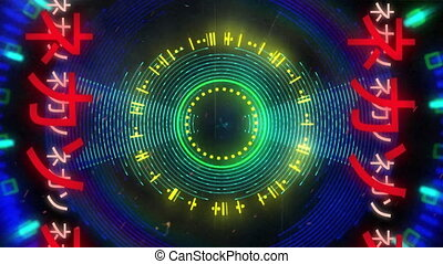 Animation of pulsating multi coloured circles and glowing red Asian Chinese writing on both sides moving in seamless loop in hypnotic motion in the background. Video game screen colour and pattern motion in repetition concept digitally generated image.