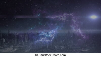 Animation of glowing spot disappearing over city horizon ...