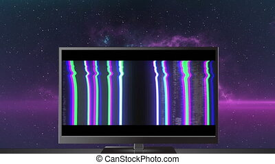 Animation of glowing wow text over television screen with glowing purple background. social media communication colour and movement concept digitally generated image.