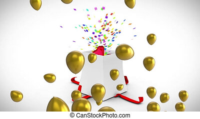 Animation of gold balloons over white gift box opening releasing colourful confetti and number 18