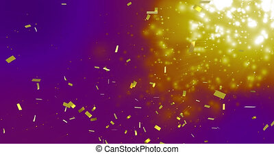Animation of gold confetti falling over glowing spots on purple background